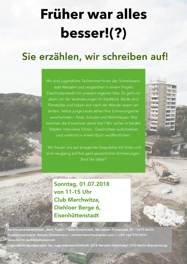 Einladung zum Gespräch im Club Marchwitza